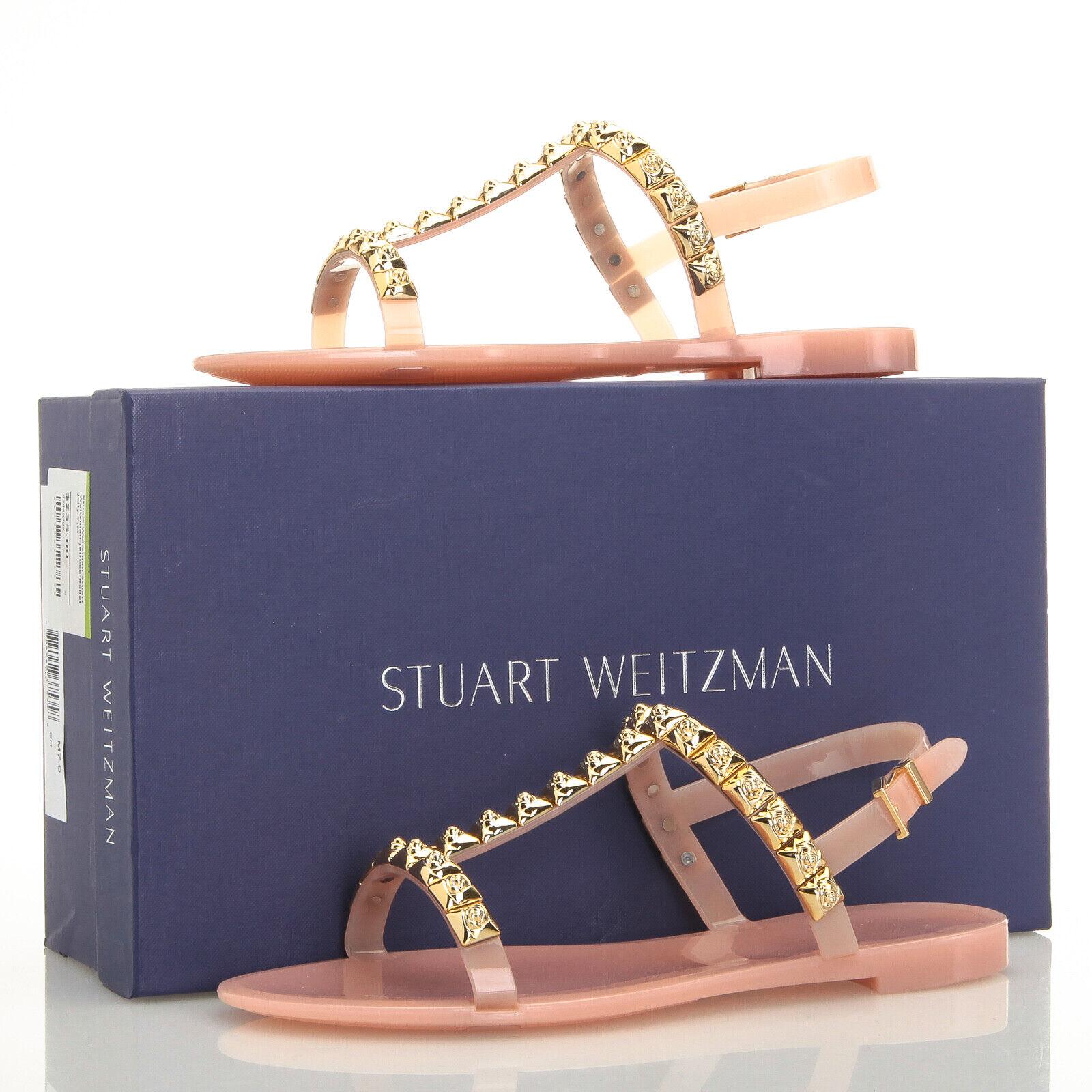 Stuart Weitzman Jelrosa Studded T-Strap rosa Jelly Sandals - Dimensione 7 M