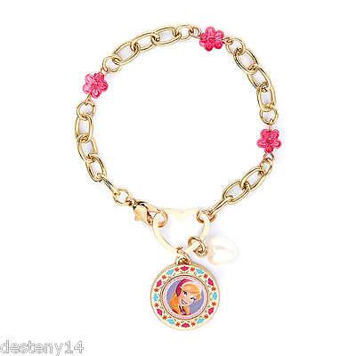 Disney Princess Frozen Anna Pink Flower Beads Charm Bracelet Heart  NWT
