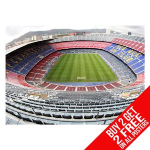 BARCELONA-CAMP-NOU-Stadium-Poster-Arte-Impreso-A4-A3-Tamano-Buy-2-GET-ANY