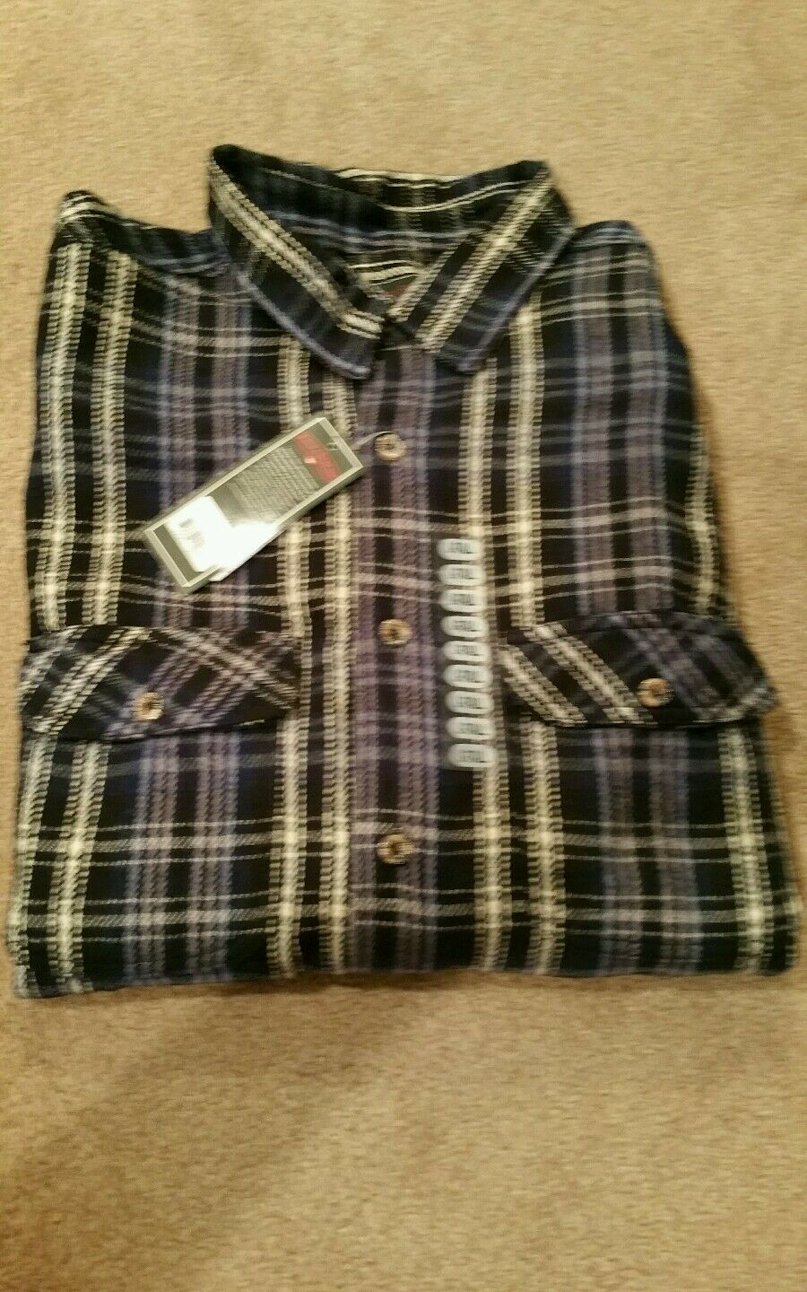 Field & Stream 1871 navy heavy weight  plaid button down flannel shirt SZ. L TALL  new exclusive high-end