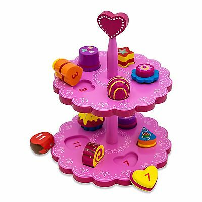 Childrens Kids Wooden Cakes Stand Shape Sorter Pretend Play Toy Lucy Locket Ebay