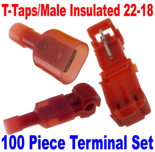 100 T-Taps//Male Insulated 22-18 Ga Wire Connectors Car Audio Terminals USA