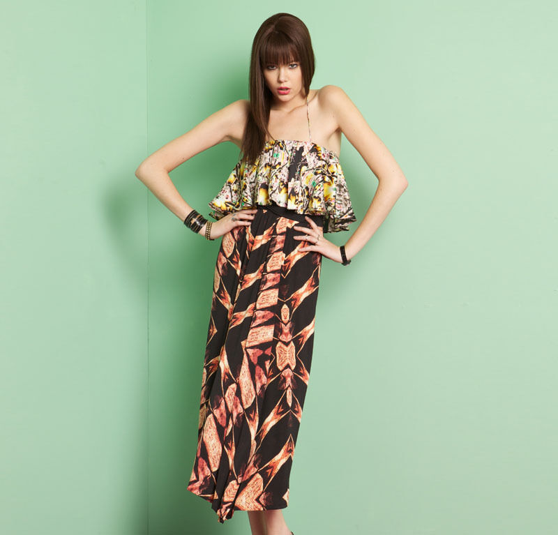 T-Bags Los Angeles Delphine Maxi Dress Layerot Ruffle Tube Top Front Slit Skirt