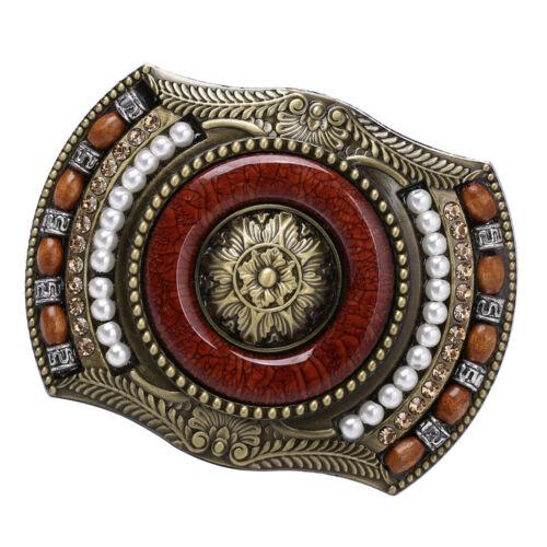 Men Western Boho Indian  Jeans Vintage Bead Belt Buckle Brass