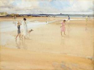 William-Russell-Flint-FUN-ON-THE-SANDS-BAMBURGH-Art-Unsigned-Released-2005