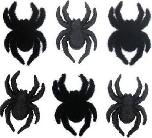 Spiders Jesse James Dress It Up Halloween Buttons Black Glitter /& Flocked
