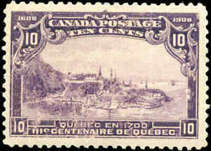 1908-Mint-Canada-F-Scott-101-10c-Quebec-Tercentenary-Issue-Stamp-Never-Hinged