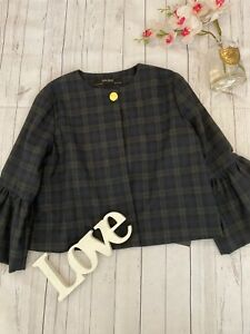 Zara Size M 10 12 navy checked cropped bell sleeve light weight coat jacket NEW