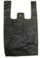 100 Qty. Black Plastic T-shirt Retail Shopping Bags W Handles Medium 15x7x26'' Office Supplies