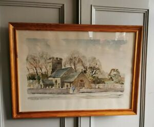 Original-Framed-Watercolour-Painting-signed-Artist-St-James-Church-Pyle-Wales