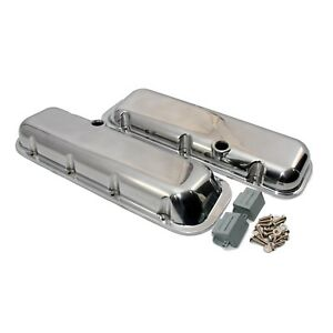 Aluminum-Polished-Valve-Covers-Short-Big-Block-Chevy-396-454-with-Breather-Holes