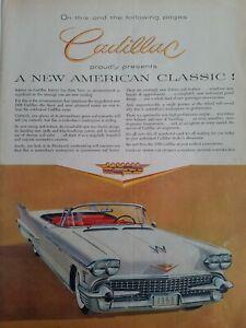 1958-Blanco-Rojo-Interior-Cadillac-Fleetwood-Convertible-Coche-Vintage-Anuncio