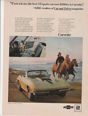 GIRLS RIDING HORSEBACK original AD 1967 CORVETTE by CHEVROLET 67 STING RAY