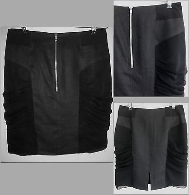 NWOT Nomia Pencil skirt 6 Linen Silk Exposed zip Black Ruched chiffon USA S