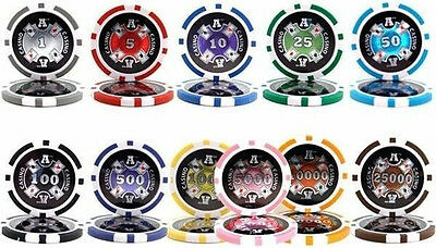 NEW 200 Crown /& Dice 14 Gram Clay Poker Chips Bulk Lot Pick Your Colors