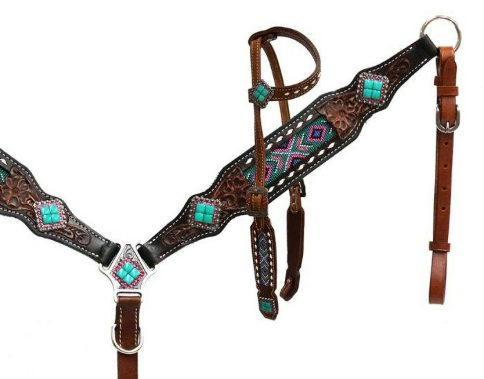 Showman Leather Headstall and breast collar Set with Multi Coloreeosso Beaded Inlay