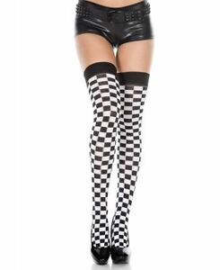 New Music Legs 4516 Flower Lace Thigh High Stockings With Satin Bow