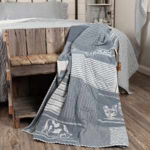 New Primitive Farmhouse Sawyer Mill GRAY TICKING STRIPED PATCHWORK Quilt Throw
