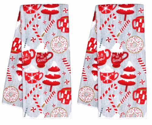 New Christmas Kitchen Towel ~ Hot Cocoa Candy Cane Set of 2