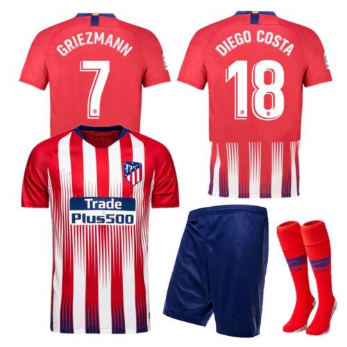 18-19 Football Soccer Club Kits Kids Boys Youth Short Sleeve Jersey Outfit+Socks