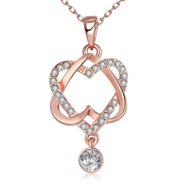 Rose Gold Plated Double Love Heart Pendant Zircon Necklace Crystal Jewelry Gift