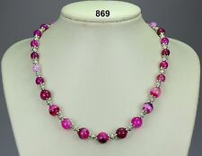 Striking 'striped' pink agate (stone) bead necklace, Tibetan silver spacers 19""