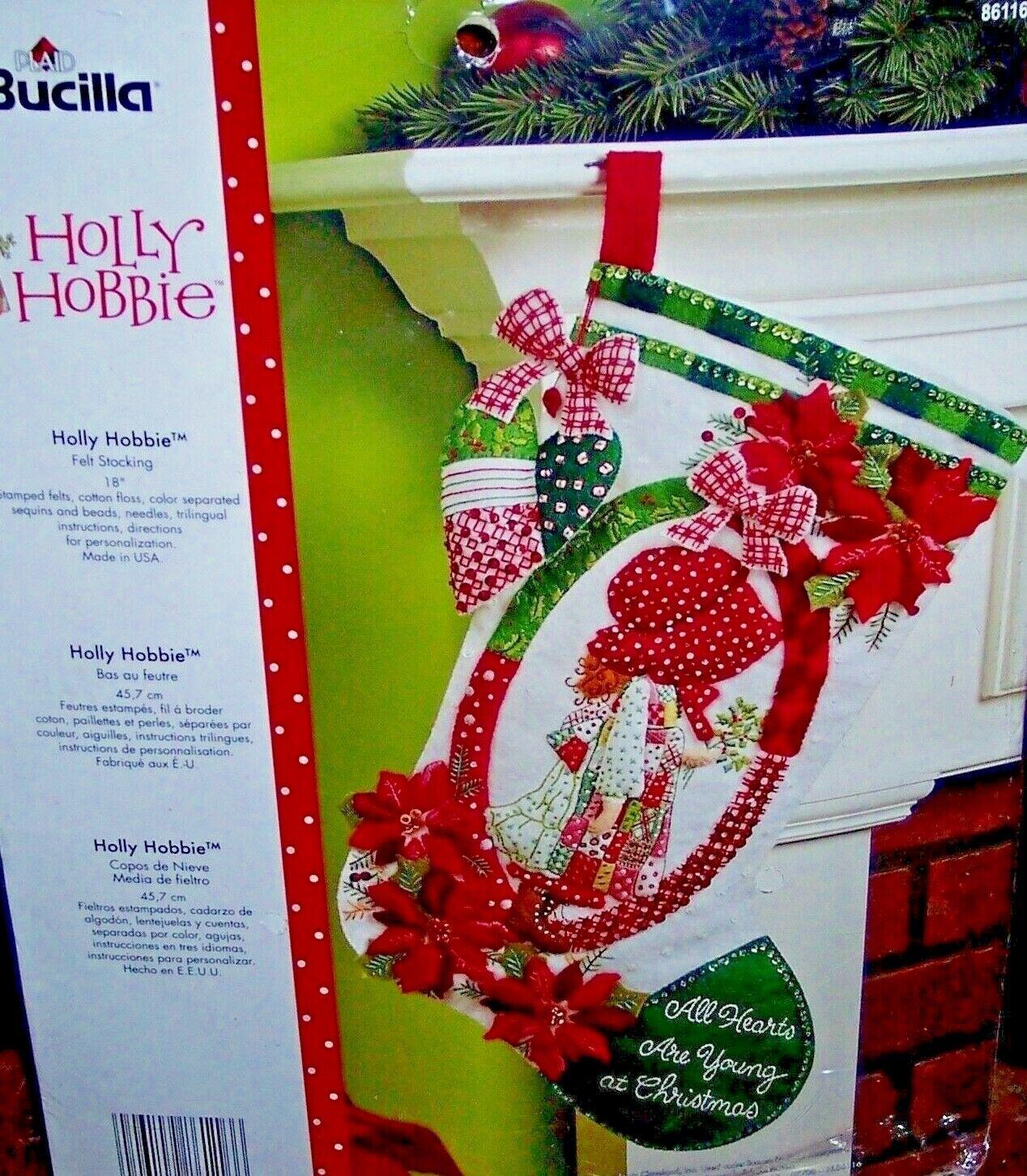 "Bucilla Holly Hobbie ~ 18/"" Felt Christmas Stocking Kit #86116 Poinsettias"