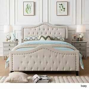 Image Is Loading New Ivory Elegant Upholstered Tufted Fabric Queen Sized