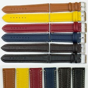 Genuine-Bison-buffalo-grain-nubuck-leather-watch-strap-band-14mm-24mm-6-colour