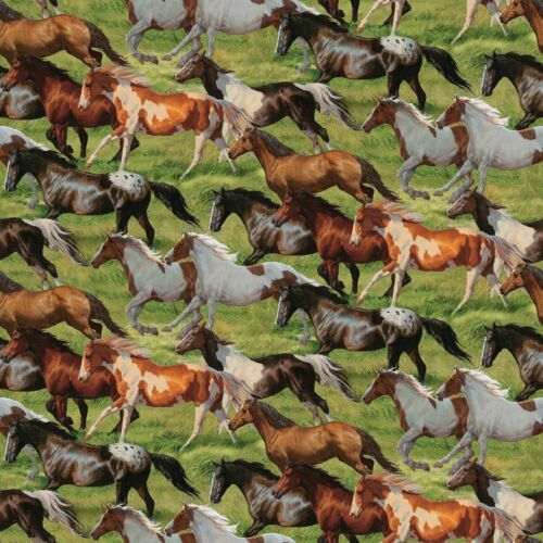 Fabric Horses Running Free on Green Cotton by the 1//4 yard