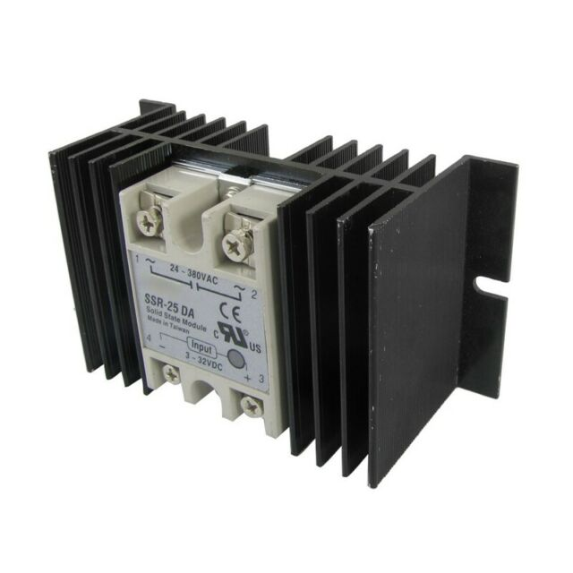 DC to AC Solid State Relay SSR-25DA 25A 3-32V 24-380V + Aluminum Heat Sink Q6Y1