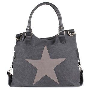 Tasche Hand Schulter Shopper Canvas Jeans Stoff Stern Trend Anthrazit Schwarz NE