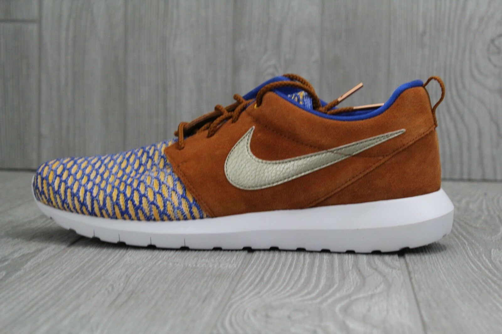 detailed look 057ff 83313 32 New New New Nike Roshe NM Flyknit Premium Game shoes Men s 11 blueee  gold 746825