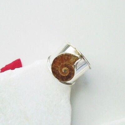 Ammonit Fossil beige braun Design modern Ring Ø 18,75 mm 925 Sterling Silber neu