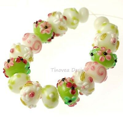 Handmade Lampwork Glass Beads  Spring Floral Green Pink Set
