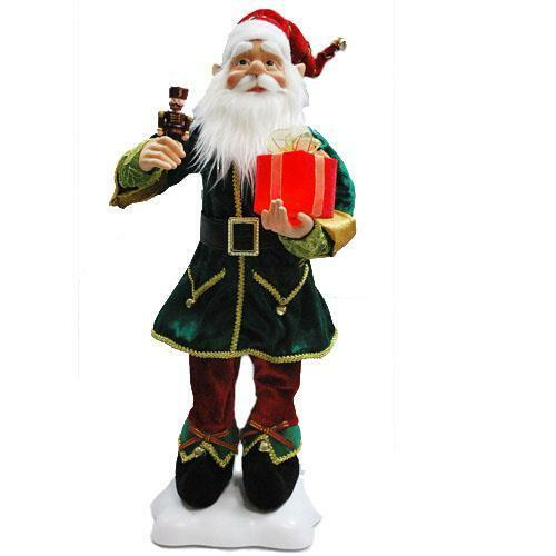 "NEW 24"" Animated Moving Elf Christmas Figure with Nutcracker Present 90013001"
