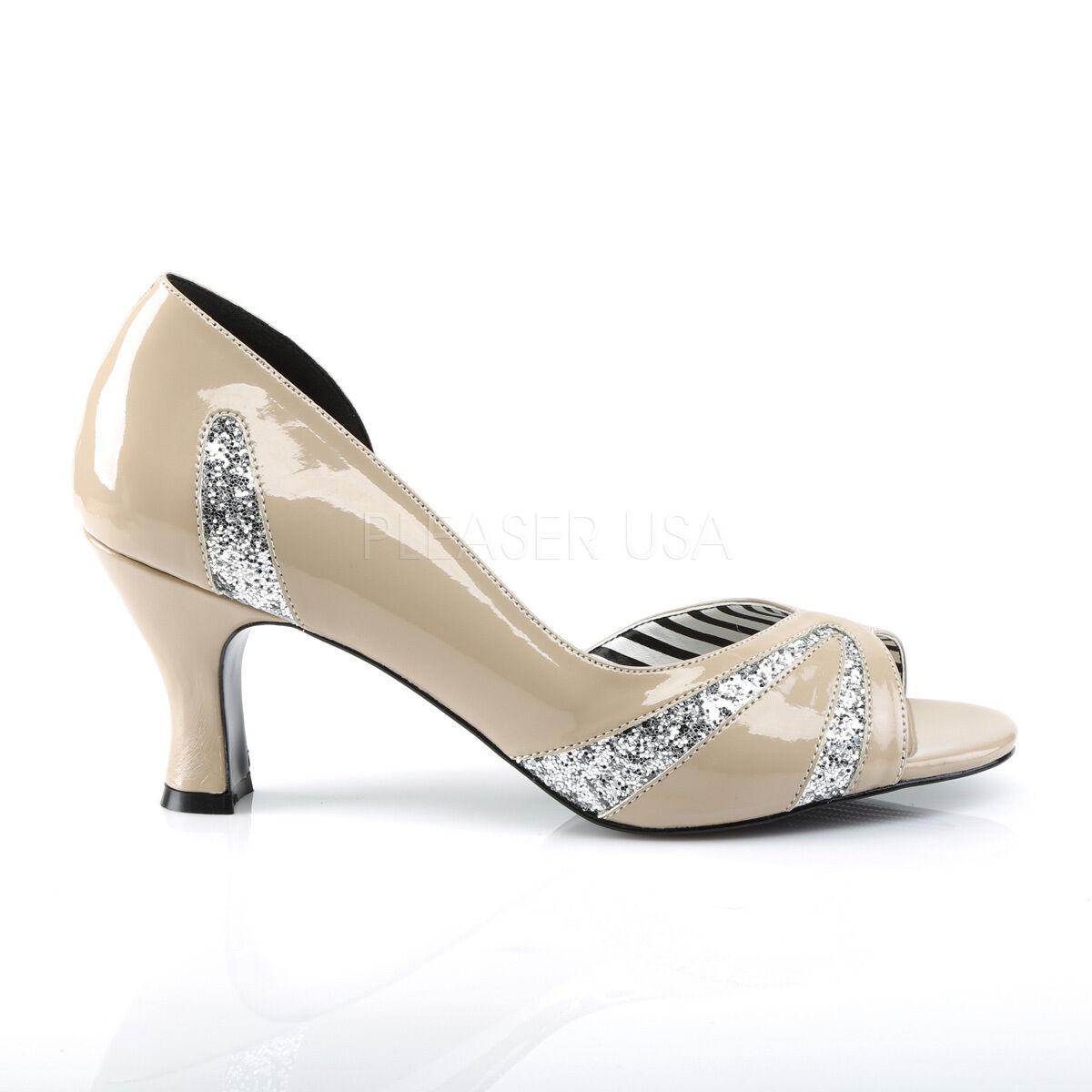 Sexy 3  High Heel Cream Peep Toe Toe Toe D'Orsay Pumps schuhe Cut w  Silber Glitters 07cf14