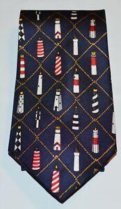 ALYNN Blue Multicolor Lighthouse Print 100% Silk Tie USA Sentinels Eric Holch