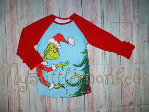 NEW Boutique Dr Seuss Grinch Stole Christmas Girls Ruffle Sleeve Shirt