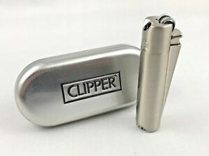 Clipper-Pfeifenfeuerzeug-Chrome-gebuerstet-Pfeife-Feuerzeug-Box-ovp