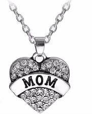 925 Sterling Silver Mom Heart Pendant with Cyristal Necklace chain Mum Mother