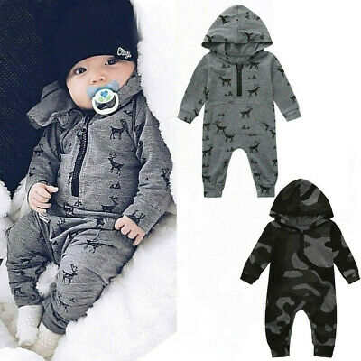 Newborn Baby Romper Infant Boys Girls Hooded Jumpsuit Bodysuit Outfits Clothes