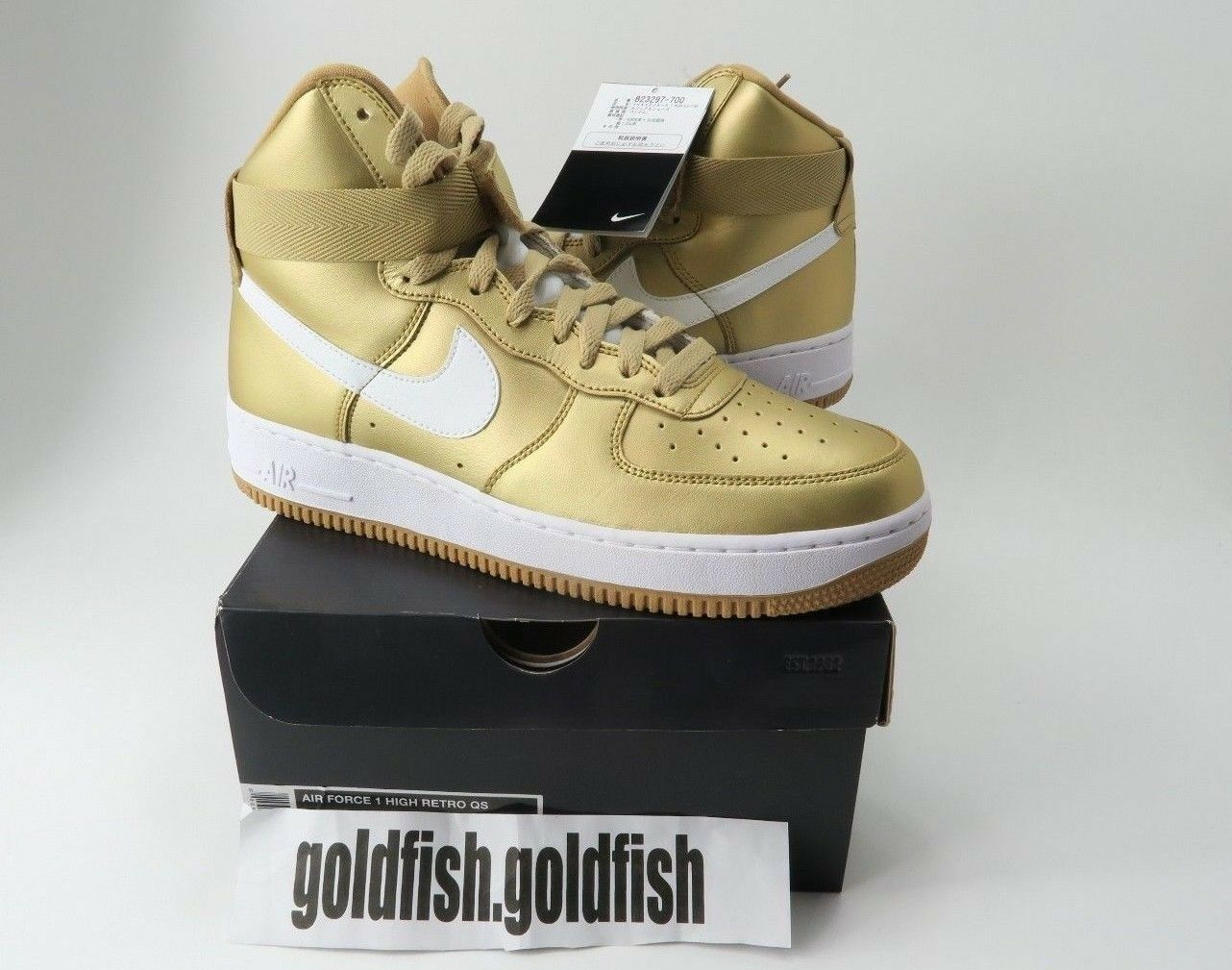 DS NIKE AIR FORCE 1 HIGH RETRO QS METALLIC GOLD 823297 700 The most popular shoes for men and women