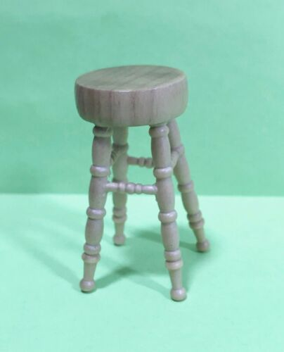 Dollhouse Miniature wooden  Oak Stool with carved Legs 2 inch