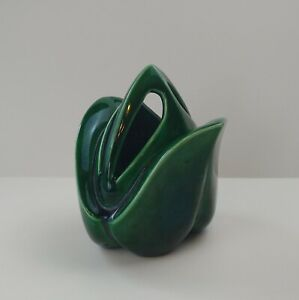 Vintage Divided Vase or Planter Green Ceramic Leaf Bud Design