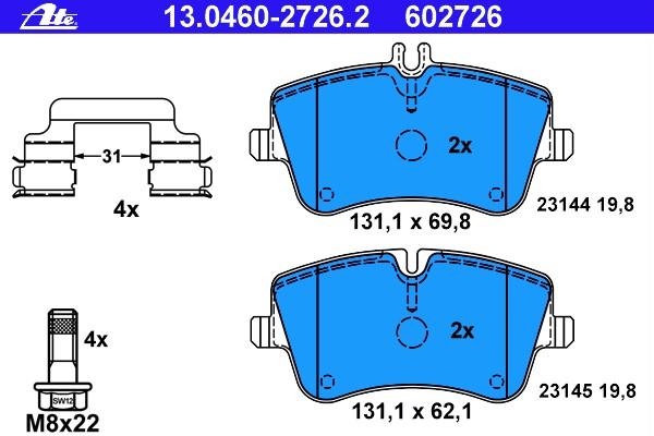 Frein à Disque 0 986 494 607 pour MERCEDES-BENZ Bosch Bremsbelagsatz