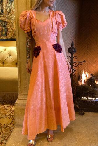 1930s 1940s Pink Taffeta Ball Gown Novelty Print S