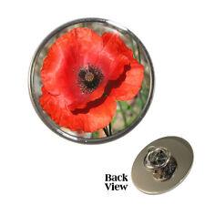 Red Poppy Flower Metal Pin Badge Papaveroideae symbol war remembrance NEW