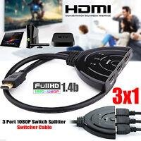 3 Port Hdmi Splitter Cable 1080p Multi Switch Switcher Hub Box Lcd Hdtv Ps3 Xbox