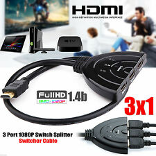 3 Port HDMI Splitter Cable 1080p Multi Switch Switcher Hub DVD LCD HDTV Ps3 Xbox